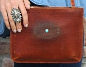 Brown Leather Tooled Purse (1005TAN)