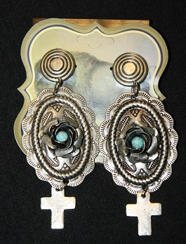 Concho Earring With Cross Dangle & Rose(82E14)