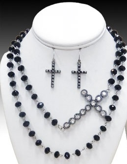 Black Beaded Necklace With Side Cross