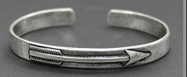 Burnished Silver Arrow Thin Cuff