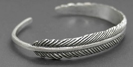 Feather Burnished Silver Thin Cuff