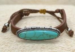 Leather Thin Oval Turquoise Bracelet