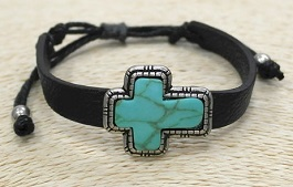 Turquoise/Silver Cross Bracelet On Black Leather