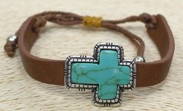 Leather Bracelet With Turquoise Cross