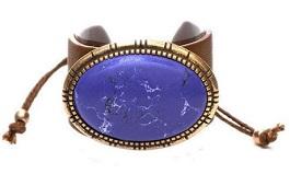 Leather Oval Blue Stone Bracelet