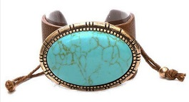 Leather Bracelet With Turquoise Oval Chunk