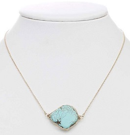 Gold Chain Necklace With Turquoise Chunk Stone