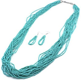 Multistrand Long Turquoise Seed Bead Necklace