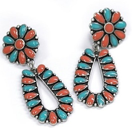 Turquoise & Red Post Earrings