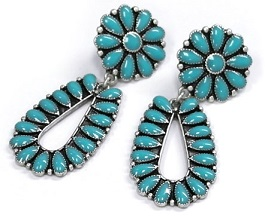 Turquoise & Silver Post Earrings