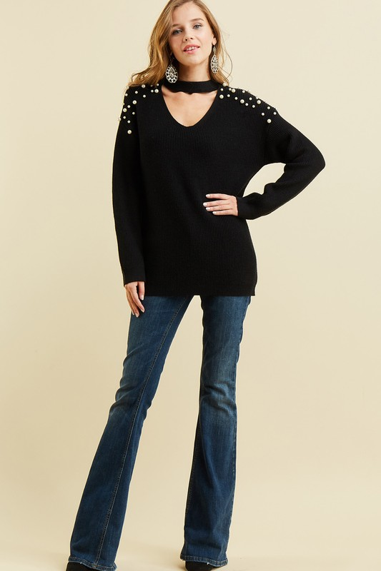 """Delicate Love"" Black Pearl Embellished Sweater"