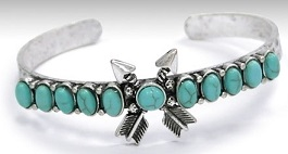 Double Arrow With Turquoise Thin Cuff
