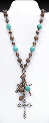 Bronze & Turquoise Cross Charm Necklace
