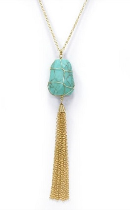 Turquoise Stone Gold Tassel Necklace