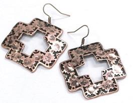 Copper Square Cross Earrings
