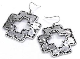 Silver Square Cross Earrings