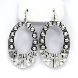 Silver Multi Cross Earring