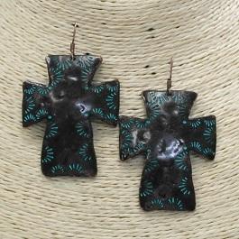 Patina Engraved Plain Cross Earring
