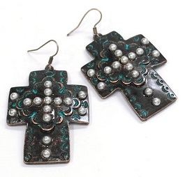 Patina Studded Inlay Cross Earring