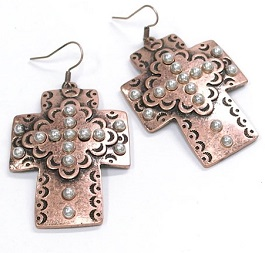 Copper Studded Inlay Cross Earring