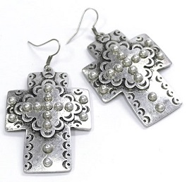 Silver Studded Inlay Cross Earring