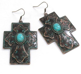 Patina Cross With Turquoise Center Earring