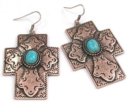Copper Cross With Turquoise Center Earring