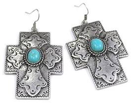 Silver Cross With Turquoise Center Earring