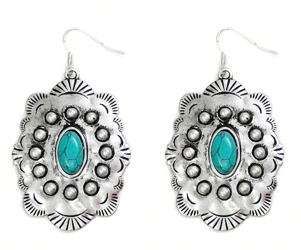 Silver Concho Dot Earring With Turquoise