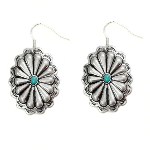 Small Silver Concho Earrings With Turquoise