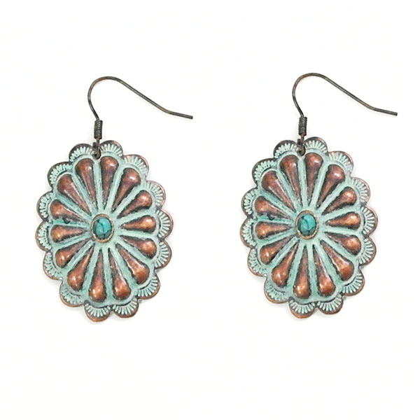Small Patina Concho Earring With Turquoise