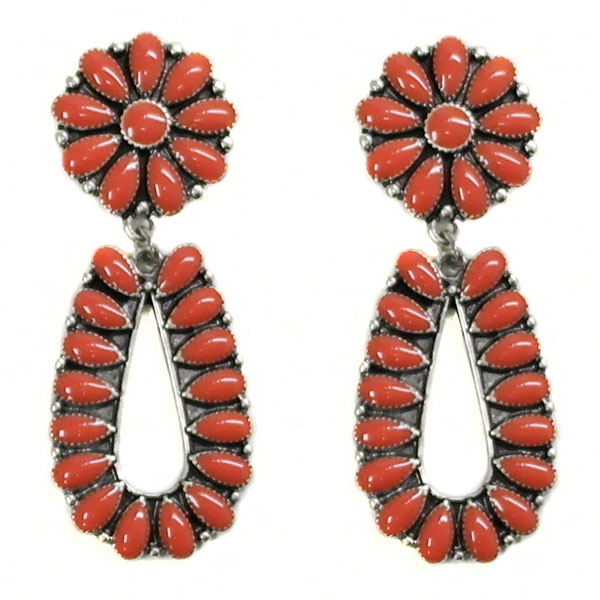 Red & Silver Post Earring