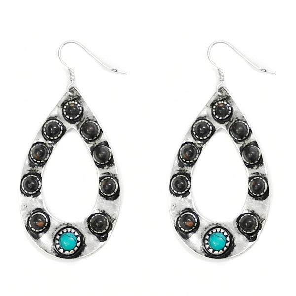 Teardrop Silver Earrings With Turquoise