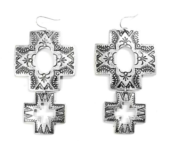 Silver Square Cross Earrings With Dangle