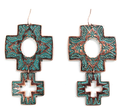 Square Patina Cross Earring With Dangle