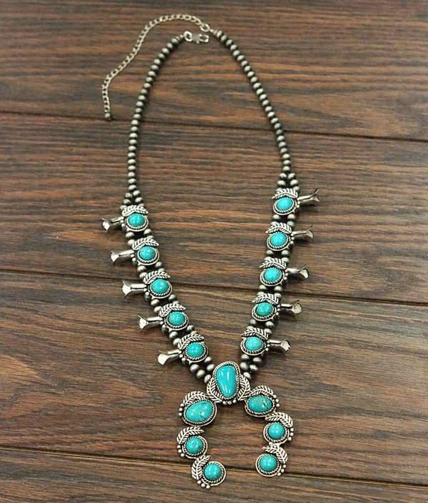 Vintage Style Turquoise Squash Blossom