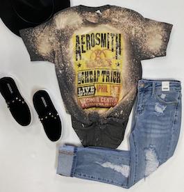 Aerosmith Charcoal Bleach Splatter Graphic T-Shirt