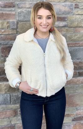 White Fuzzy Zipper Detail Jacket