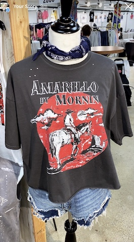 """""""Amarillo By Morning"""" Cropped Black Oversized Graphic T-Shirt"""