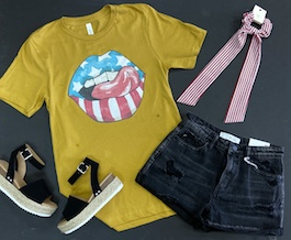 """""""American Lips"""" Mustard Graphic T-Shirt With Lips"""