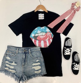 """""""American Lips"""" Black Graphic T-Shirt With Lips"""