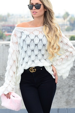 """""""Genna"""" White Bell Sleeve Detailed Sweater"""