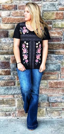 """Rosella"" Black Floral Embroidered Top"