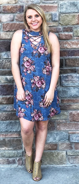 """""""Florally Yours"""" Denim Blue Floral Sleeveless Dress"""
