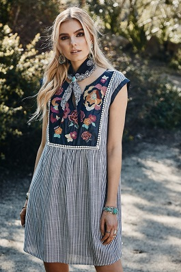 """Boho Jane"" Striped Embroidered Dress With Embroidered Detail"