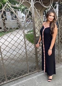 """Boho Summer"" Black Embroidered Detail Maxi Dress"