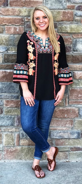 """Santa Fe Love"" Black Bright Floral Embroidered Top"