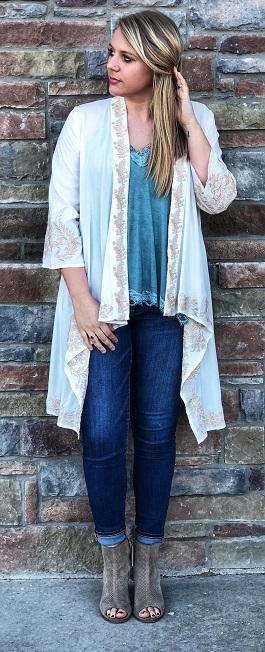 """Mystic Beauty"" Ivory With Taupe Embroidered Kimono"