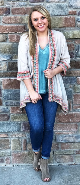 """Native Love"" Taupe Bright Embroidered Detailed Cardigan"
