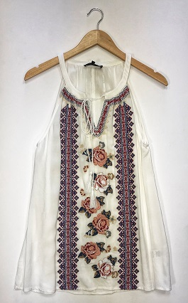 """Planted Beauty"" White Embroidered Sleeveless Top"